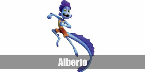 Alberto's costume is a purple mermaid-scale rashguard and tights, a yellow tank top, orange shorts, a twine belt, a long purple sea monster tail, and an Alberto-inspired mask.