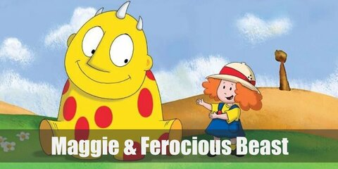 Maggie & Ferocious Beast's costumes are a yellow shirt, a blue pinafore dress, yellow socks, black Mary Janes, and a white safari hat; and a yellow jumpsuit with red circular felt paper glued to it.