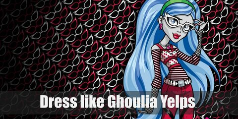 Ghoulia Yelps wears a long-sleeved shirt underneath a cherry camisole, red polka-dotted pants, and black converse high tops.