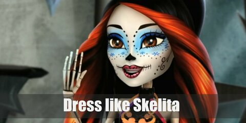 Skelita looks like a skeleton with a Day of the Dead-inspired makeup. She wears a simple black halter top, a multi-colored skirt, and lime green platform sandals. She also has long black hair with marigold streaks in it.