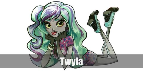Twyla's costume is a purple blouse, purple and black layered skirt, purple ankle boots, and black lace gloves. She also has turquoise hair.