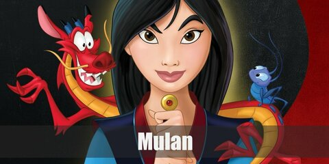 In this version of Mulan, she is still tough as ever, but she is wearing a more feminine traditional Chinese dress, but still carries a sword with her to maintain her duty as a soldier.