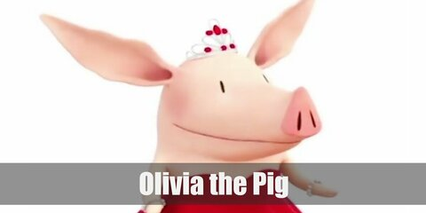 livia the Pig's costume is a red dress, a black scarf, black and white-striped leggings, black shoes, a pair of pig ears, and a cute pig snout.