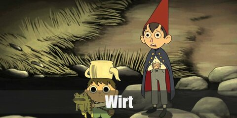 Wirt's costume is a white long-sleeved, button-down shirt, grey slacks, white socks, black shoes, a blue cape, and a red cone hat.