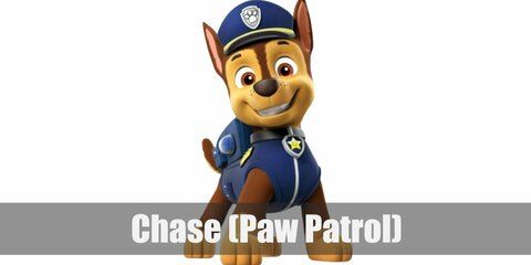 Chase's costume is a blue police vest with a police patch/collar, a blue police cap, and a boxy blue backpack.