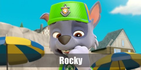 Rocky costume is a green vest and a green baseball cap to show his love for recycling and reusing.