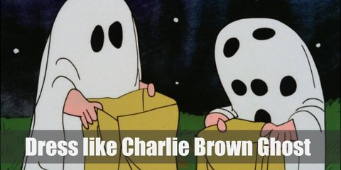 Charlie Brown ghost costume consists of a white sheet and lots of black holes all around. He is also unlucky enough to get rocks from trick or treating instead of candy.