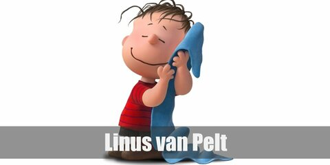 Linus van Pelt' costume is a red and black-striped shirt, black shorts, and brown shoes. He also loves bringing along his blue security blanket.