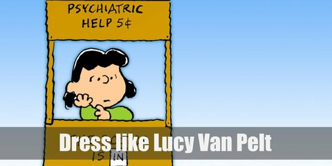 Lucy van Pelt's most iconic outfit is her light blue dress paired with black and white Oxfords. She also loves bringing her football along.