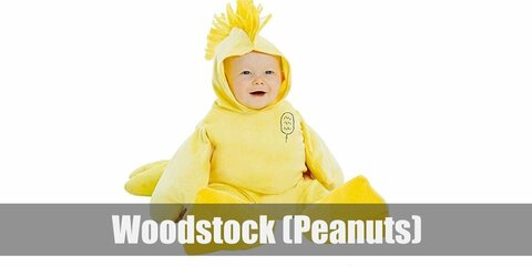 Woodstock's costume is a yellow sweatshirt, yellow jogger pants, yellow shoes, and a yellow feathered headband.