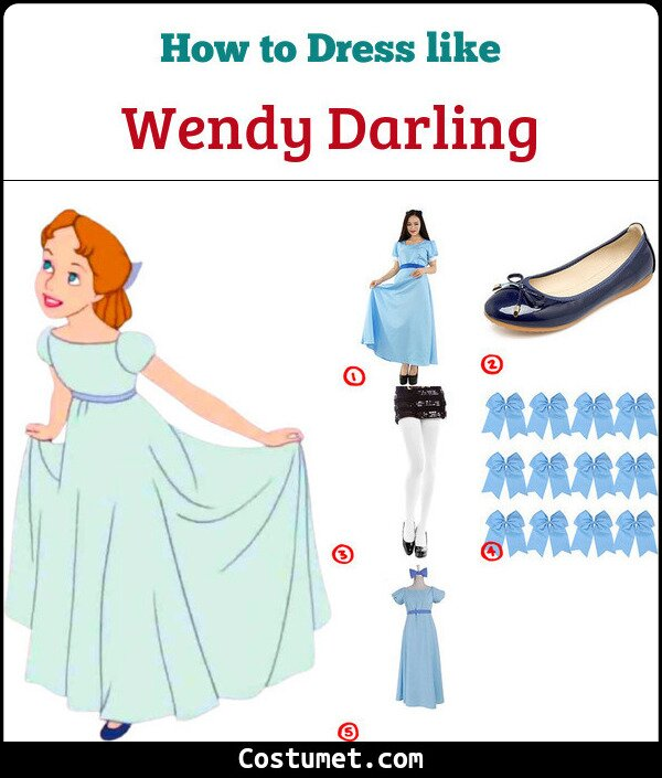Wendy Darling Costume for Cosplay & Halloween