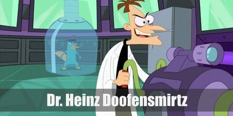 Dr. Heinz Doofensmirtz's costume is a black turtleneck top, khaki pants, and a white lab coat. Dr. Doofensmirtz is a middle-aged evil scientist trying his best to rule the Tri-State Area.