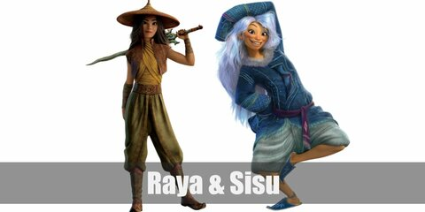 Raya & Sisu's costumes are a yellow cowl top, a brown vest, a red cape, green flowy pants, a coolie hat, and leather arm and leg wraps while Sisu wears grey haremt pants, a turquoise patterned long top, and a long purple wavy wig.