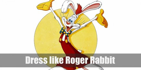 Roger Rabbit looks like a white anthropomorphized rabbit with clothes. He prefers bright red overalls, a blue polka-dotted bow tie, and yellow gloves.