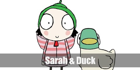 Sarah and Duck costume is a pink striped jacket, pink skirt, black leggings, black shoes, and a green beanie. Duck has a cream-colored body, a green head, and a yellow beak