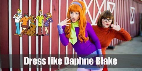 Daphne is the most well-dressed in the group and she loves the colors purple and pink. Her chic dress, trendy tights, awesome shoes, and simple headband show this perfectly!