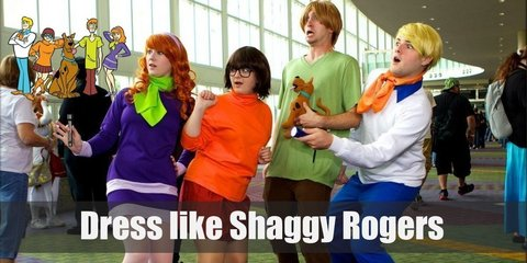 Shaggy Roger's costume is very laid-back yet retro, and he wears a very loose light green shirt, a pair of maroon bell bottom pants, and black loafers.