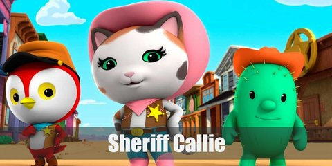Sheriff Callie costume is a pink cowboy hat, brown vest, denim pants, pink boots, and a pink bandanna.