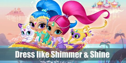 Shimmer and Shine both have harlem tops, harlem pants, gold flats, and awesome head chains. The main difference? Shimmer loves pink and Shine prefers blue.