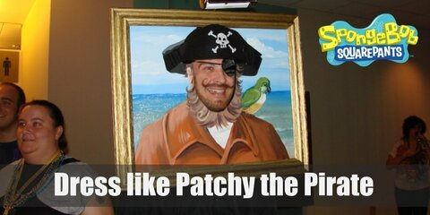 Patchy the Pirate is a fun-loving and pirate-obsessed guy, and is also the self-elected President of the Spongebob Squarepants Fan Club. He's personality is anything but ordinary but Patchy dresses like a stereotypical pirate. He has on a pirate's hat, a hook and eye patch, a purple coat, and an awesome fake black beard.
