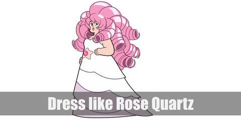Rose Quartz costume is a white, strapless gown with pink shades at the bottom and a pink star paste in the middle. She also has voluminous pink hair.