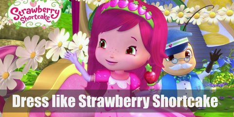 Strawberry Shortcake costume is a white puffed sleeve top, a pink polka-dotted skirt, pink Mary Janes, green and white-striped tights, and a cute strawberry hat.