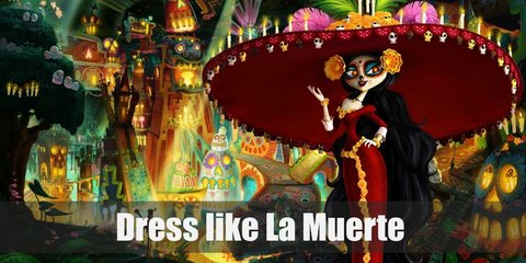 La Muerte costume is long red, long-sleeved dress bedecked with marigolds all over. She also loves her very wide red sombrero which also has marigolds and candles on top of it.