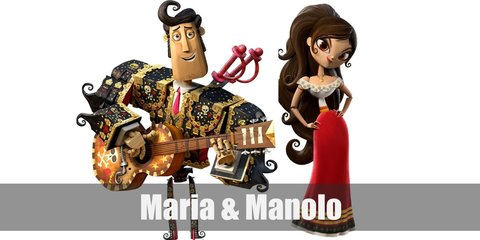 Maria Posada costume is an off-shoulder top with a red long skirt. Meanwhile, Manolo Sanchez costume a black bull-fighting coat with gold-toned embellishments. He also carries a guitar.