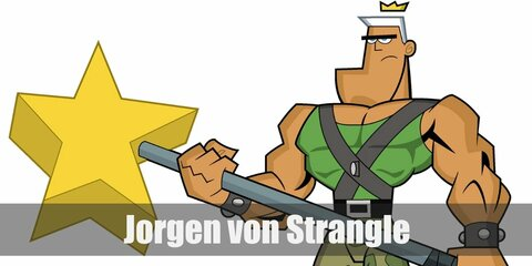 Jorgen Von Strangle's costume is a green tank top, camo pants, and black work boots. Jorgen Von Strangle is the strongest Fairy in the Fairy World and he looks the part.