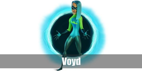Voyd costume is a long-sleeved, turtleneck top and sleek tights. Don't forget your black gloves, black boots, and blue hair.