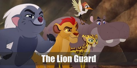 Kion looks so much like Simba with his yellow fur and spiked red mane. He is joined by his teammates: Fuli (a yellow cheetah), Bunga (a badger), Beshte (a grey hippo), and Ono (a white egret).