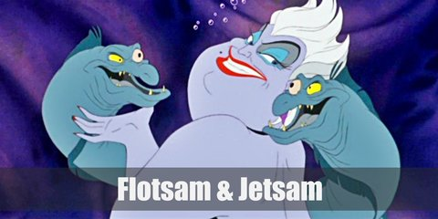 Flotsam and Jetsam costume look like sea creatures and looks like snakes or eels. Their costume can include green scaly long sleeved tops and leggings paired with furry leg warmers.