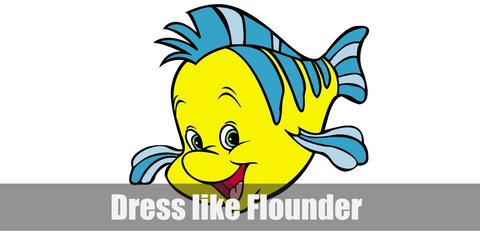 Flounder costume wearing a yellow hoodie with blue stripes, blue leggings, and cut-out blue fins.