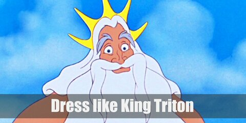 As a king of Atlantica, KIng Triton wears a gold crown and armbands and owns a magical gold trident. He also has long white hair and beard, and a tail in ocean-blue color.