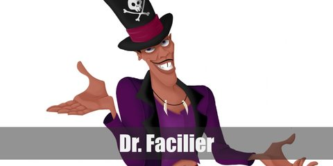 Dr Facilier's costume includes a purple shirt with maroon coat and pants. He wears white dress shoes and a red belt. He also has a tooth necklace, a top hat, and a cane.