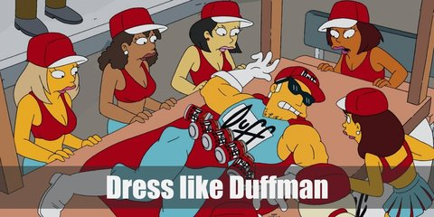 Duffman costume is a light blue muscle tee, blue pants, white boots, white gloves, his iconic beer belt, and red 'Duff' cap.