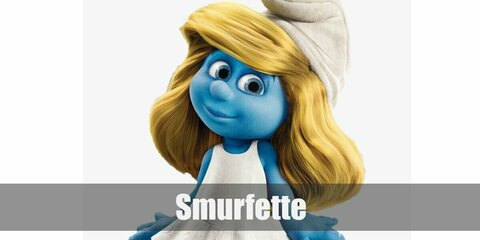 Smurfette's costume is a white dress, white heels, white hat, and long, blonde hair. She also has blue skin. Smurfette is the deeply caring female Smurf that everybody loves.