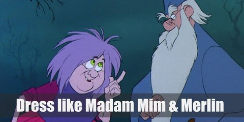 Merlin's costume is long, light blue robes, a light blue conical hat, and blue shoes. Madam Mim costume a maroon long-sleeved shirt underneath a purple top, a hot pink skirt, and purple shoes.