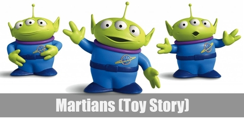 The Martians or Little Green Men costume involves a blue shirt with a pizza planet logo paired with blue pants. Wear blue shoes as well as  a purple neck accent. Then wear a three-eyed hat and green gloves.