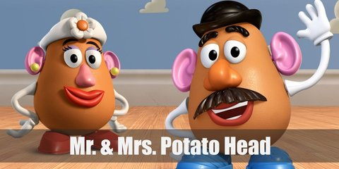 Mr. and Mrs. Potato Head costume look almost the same. The difference between the two can be seen in their accessories like eyes, shoes, and hats.