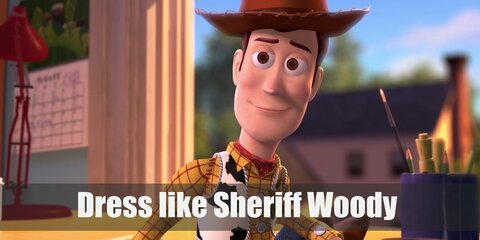 Woody looks like a vintage sheriff through and through (except he wears brighter colors). He has on a yellow long-sleeved top, denim pants, cowboy boots, a cowboy hat, and his shiny sheriff badge.