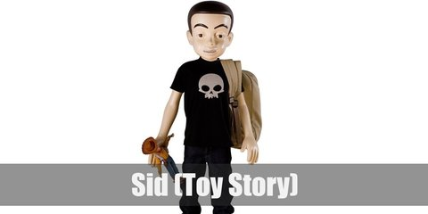 Sid costume is wearing a black shirt with a skull design, denim pants, and a pair black sneakers.