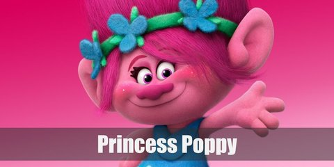 Princess Poppy costume is a blue dress with white poppy patterns on the hem. She also has pink skin and pink hair in an updo.