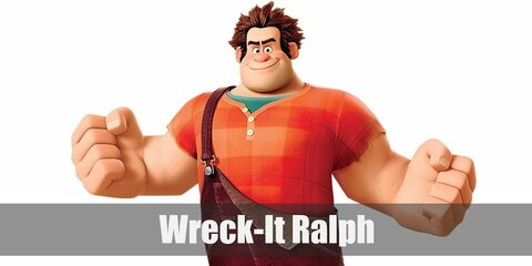 Wreck It Ralph's costume is a green undershirt, an orange shirt, and brown overalls.  Wreck It Ralph is not your typical arcade bad guy.