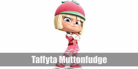 Taffyta Muttonfudge's costume is a pink sequined tank topped with a pink zip-up jacket, pink-striped pants, pink shoes, white gloves, and a strawberry beret. She is also known for her pale blonde hair.