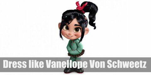 Vanellope Von Schweetz wears a mint green hoodie, a brown mini skirt, mint-striped leggings, and candy hairclips.