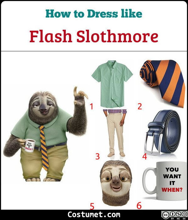 Flash Slothmore Costume for Cosplay & Halloween
