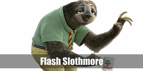 Flash Slothmore's costume is a green collared shirt, a blue and orange tie, khaki pants, and a blue belt. Flash Slothmore is a hardworking and easygoing officer worker.
