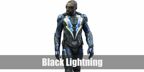 Black Lightning's costume is a pair of black goggles and an all-dark suite littered with different armor parts, with two lightning strikes painted at the chest.