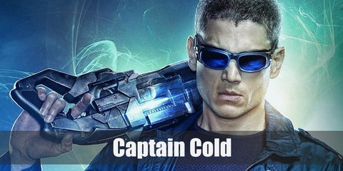 Captain Cold's costume consists of a dark jacket, shirt, and pants. He wears combat boots and carries a freeze gun.